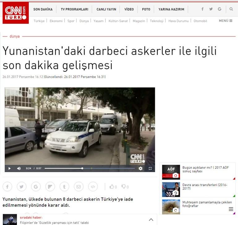 CNN Turk: Έκτακτη είδηση σχετικά με το στρατιωτικό πραξικόπημα στην Ελλάδα