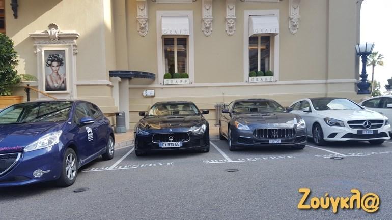 Έξω από το καζίνο: Mercedes, Maserati και... Masderati. Ακριβώς δίπλα και ένα Peugeot!