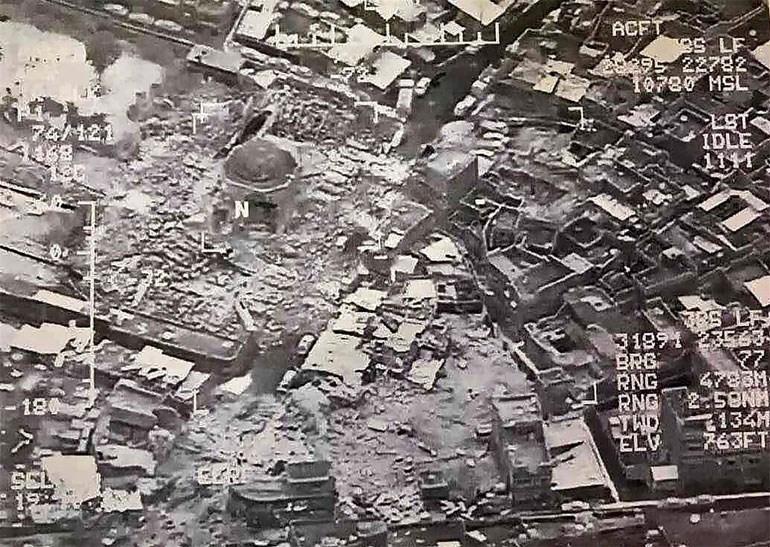 Εναέρια λήψη από την καταστροφή του τεμένους Αλ –Νούρι