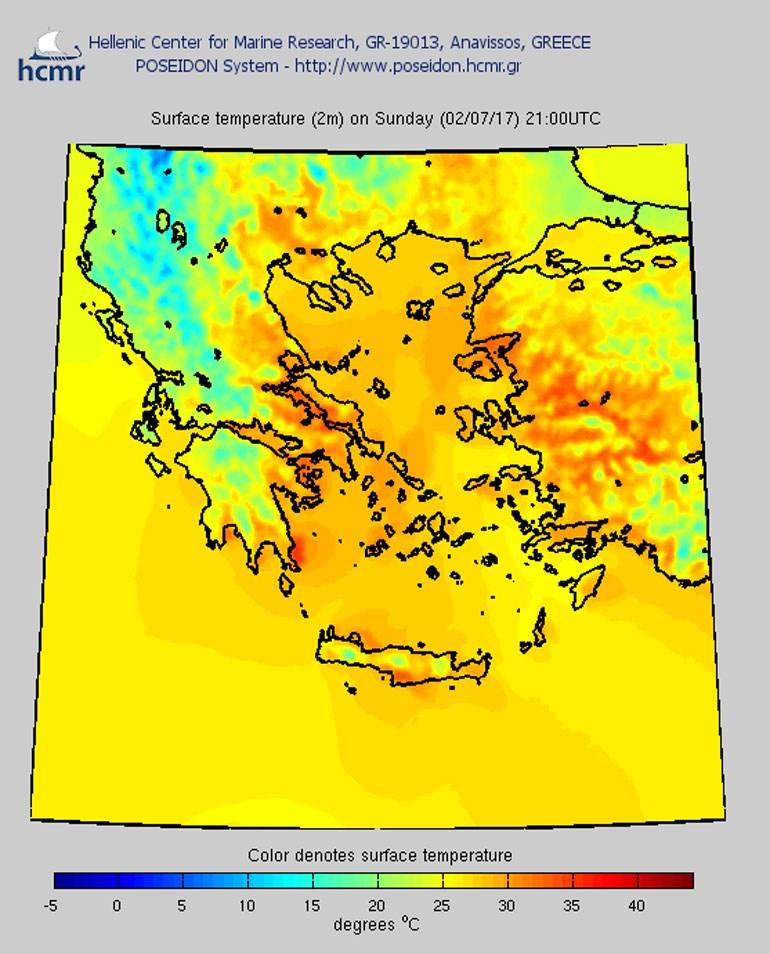 Χάρτης θερμοκρασιών: Κυριακή 21.00 μμ