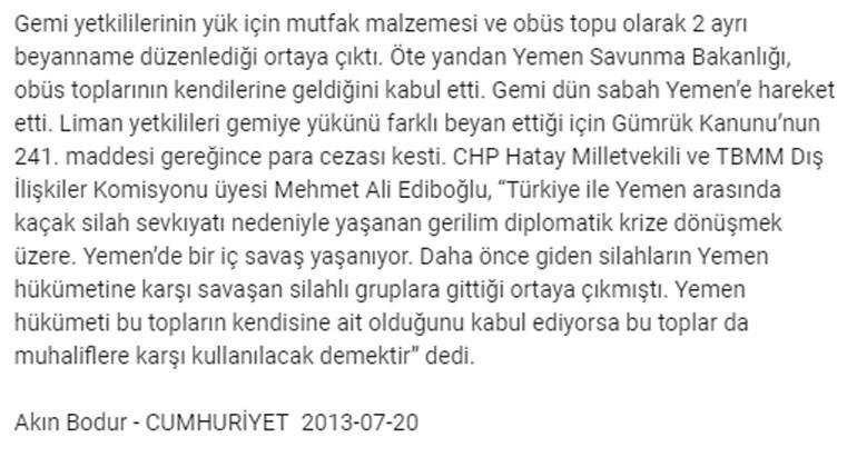 To δημοσίευμα της «Cumhuriyet» το 2013