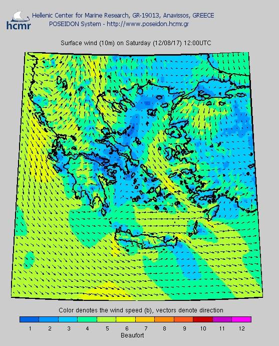 Το χρώμα δηλώνει την ένταση του ανέμου στην κλίμακα Μποφόρ (Σάββατο μεσημέρι)