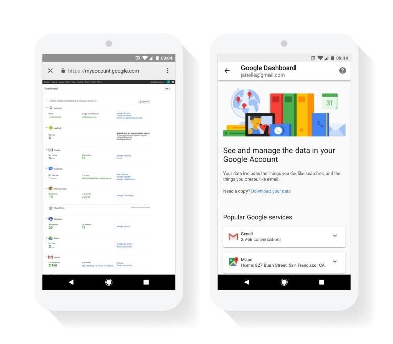 Ο Πίνακας Ελέγχου της Google πριν (αριστερά) και μετά (δεξιά) την ενημέρωση