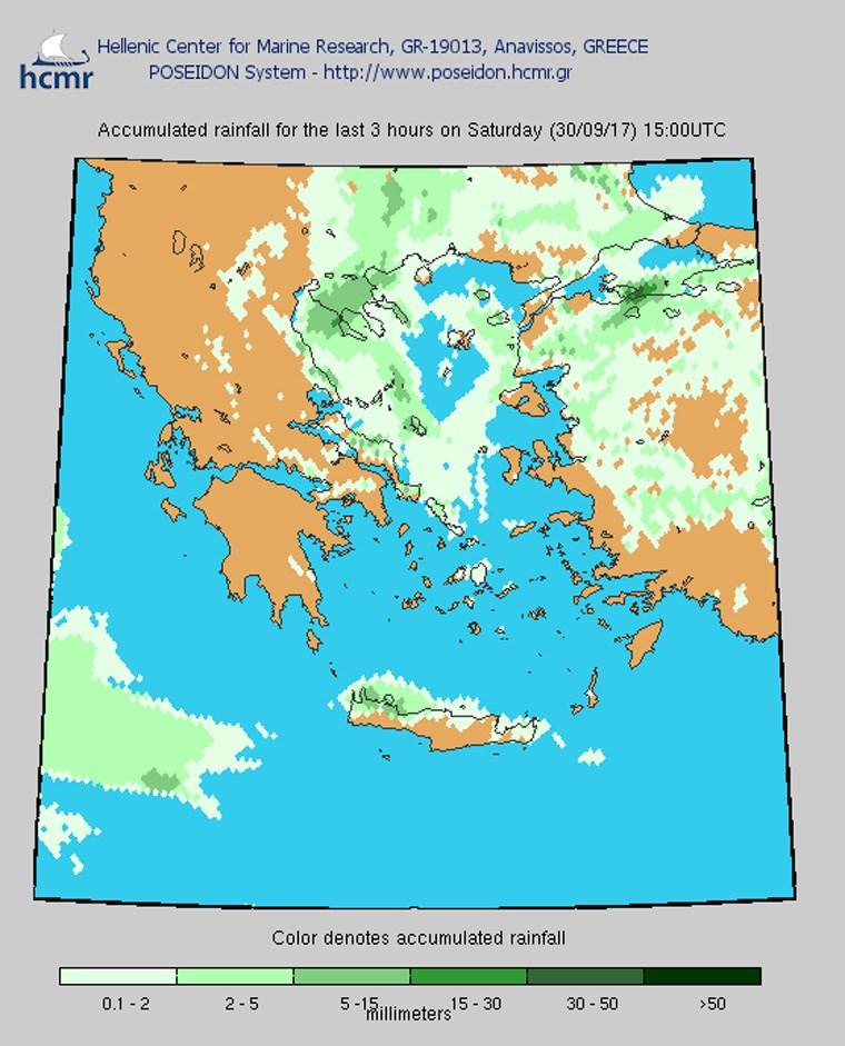 Το χρώμα δηλώνει το αθροιστικό ύψος της βροχόπτωσης το τελευταίο 3ωρο
