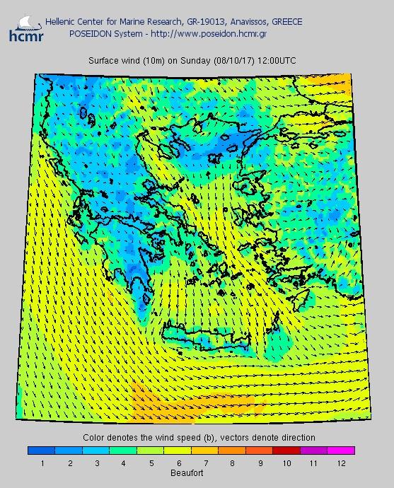 Το χρώμα δηλώνει την ένταση του ανέμου στην κλίμακα μποφόρ (Από πάνω προς τα κάτω: Παρασκευή απόγευμα, Σάββατο μεσημέρι, Κυριακή μεσημέρι)