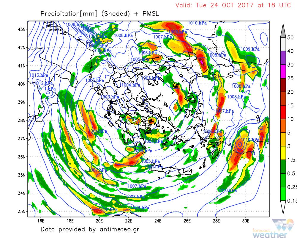 Το σύστημα το βράδυ της Τρίτης - Forecastweather