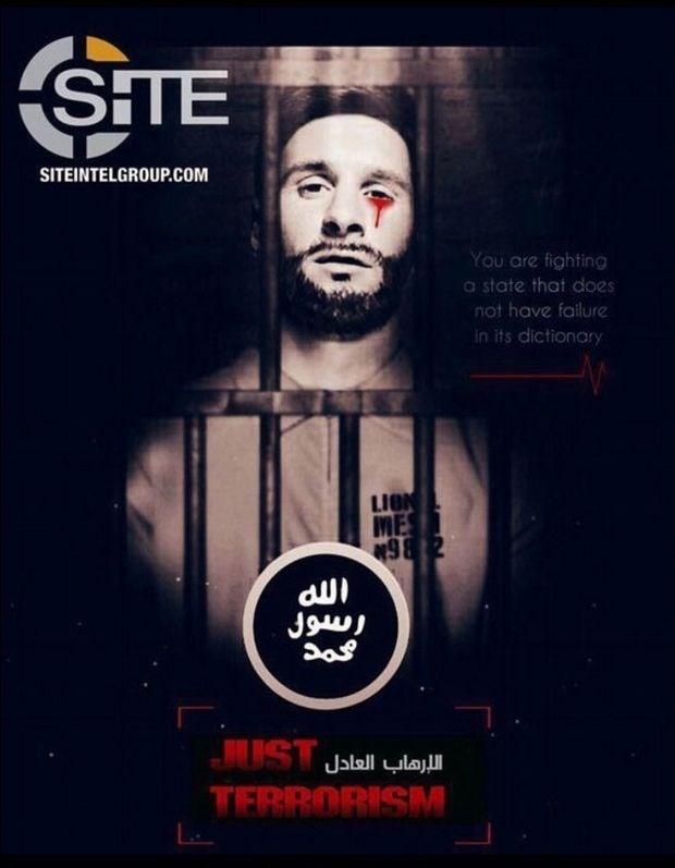 Ο Λιονέλ Μέσι, φυλακισμένος και δάκρυα από αίμα να τρέχουν στο πρόσωπό του. «Πολεμάτε ένα κράτος το οποίο δεν έχει την αποτυχία στο λεξικό του», είναι το μήνυμα που συνοδεύει τη φωτογραφία.