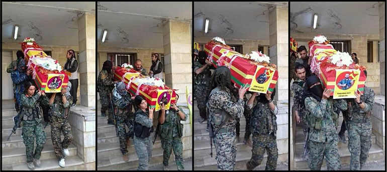 Στο δεύτερο φέρετρο, η Κούρδισσα που έσωσε παλαιότερα τη ζωή του Άρμι. Τον Οκτώβριο έθεσε τέρμα στη ζωή της, περικυκλωμένη από τζιχαντιστές, κατά τη διάρκεια ειδικής αποστολής