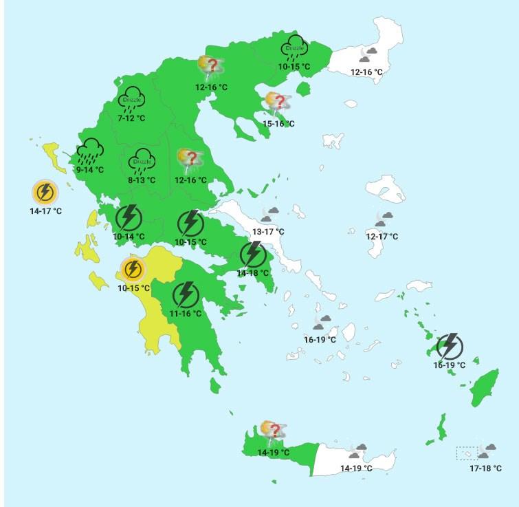 Tρίτη βράδυ (χάρτης forecastweather)