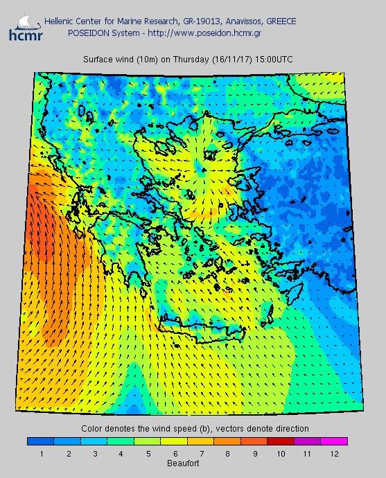 Το χρώμα δηλώνει την ένταση του ανέμου στην κλίμακα Μποφόρ