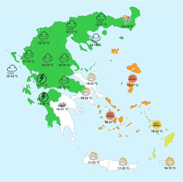 Σάββατο μεσημέρι (χάρτης Forecastweather)