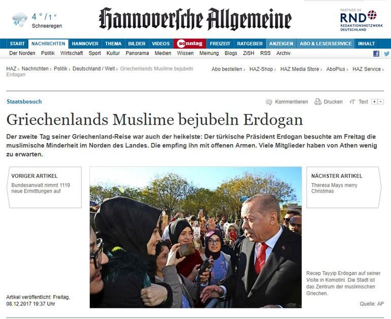 O τίτλος της γερμανικής εφημερίδας: «Οι Έλληνες μουσουλμάνοι επευφημούν τον Ερντογάν»