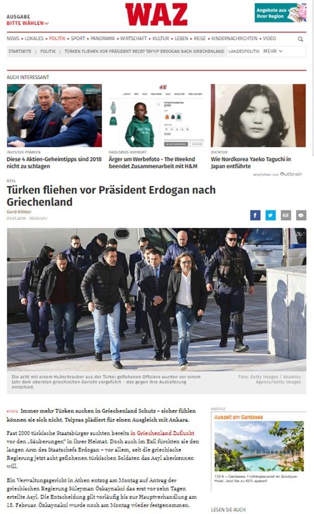To άρθρο στη γερμανική εφημερίδα η Westdeutsche Allgemeine Zeitung