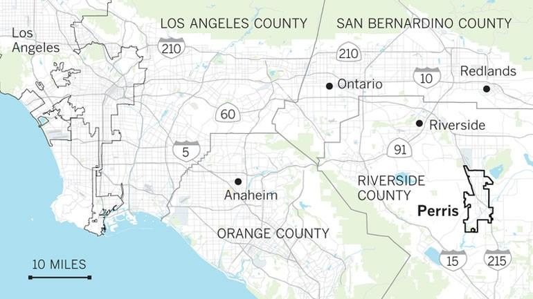Η περιοχή όπου έμενε η οικογένεια, νοτιοανατολικά του Λος Άντζελες