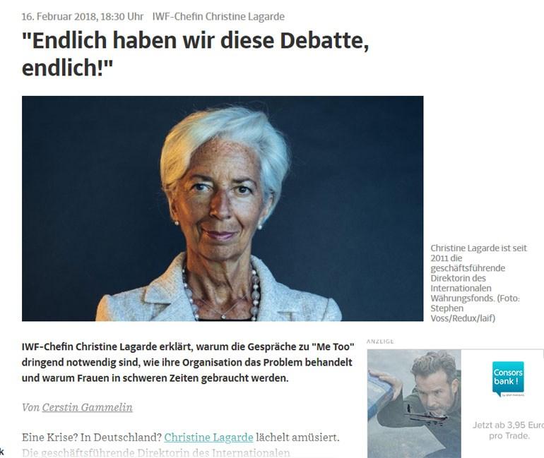 H επικεφαλής του ΔΝΤ μιλά στη SZ