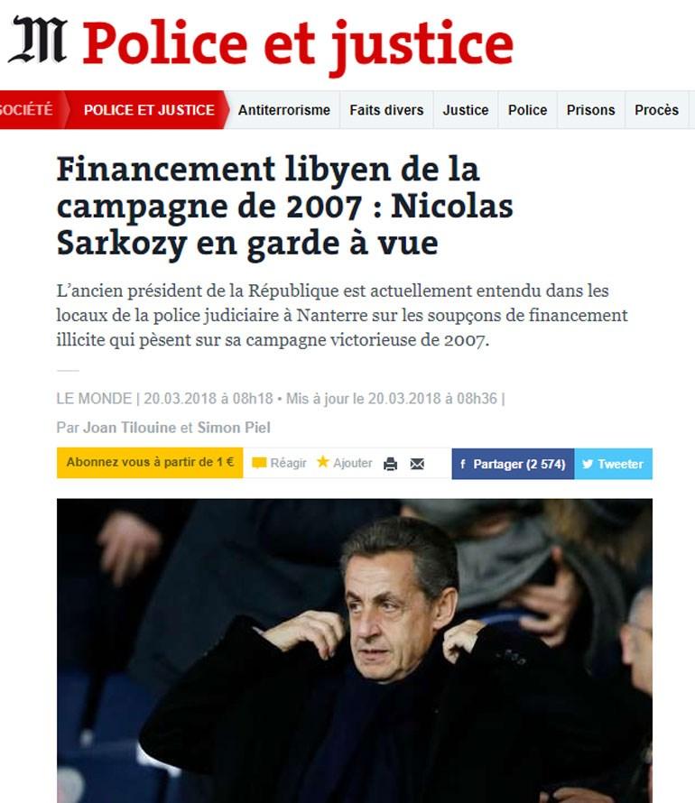 To πρωτοσέλιδο της 'Le Monde'