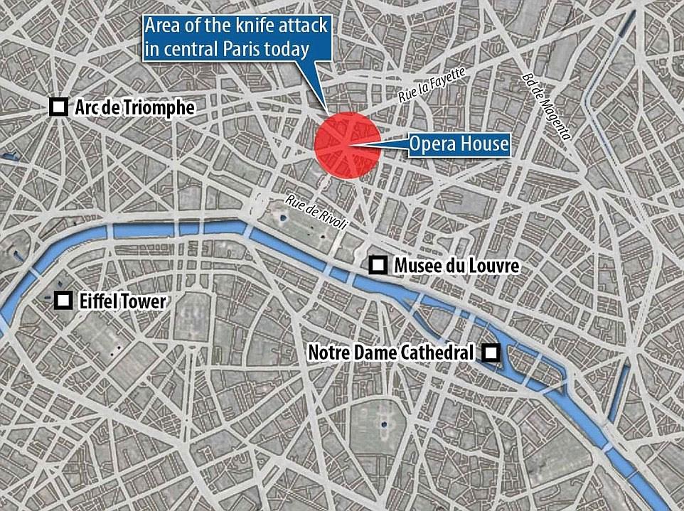 Χάρτης της περιοχής που δείχνει το σημείο της επίθεσης
