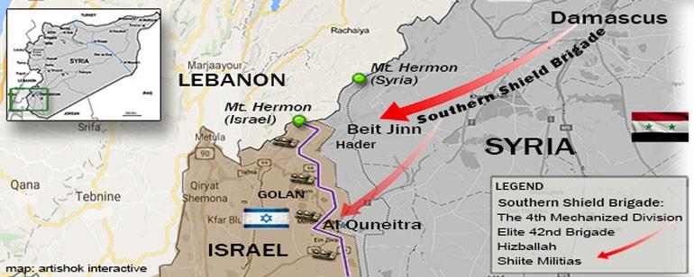 Τα υψίπεδα του Γκολάν αποτελούν το σύνορο μεταξύ Ισραήλ και Συρίας. Στον χάρτη φαίνονται οι αμυντικές θέσεις του Ισραήλ και οι μετακινήσεις της 4ης Μηχανοκίνητης Μεραρχίας του Άσαντ, όπως και η παρουσία δυνάμεων της Χεζμπολάχ