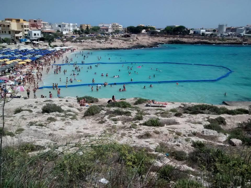 Πολυσύχναστη παραλία με δίχτυ για τις μέδουσες