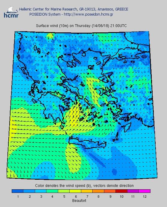 Το χρώμα δηλώνει την ένταση του ανέμου στην κλίμακα Μποφόρ/ Πέμπτη βράδυ
