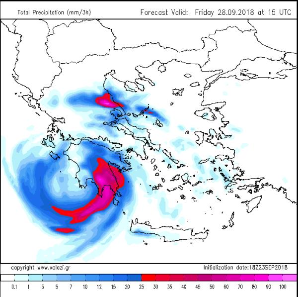 Ισχυρές καταιγίδες και μεγάλα ύψη βροχής αναμένονται την Παρασκευή στη Νότια Ελλάδα