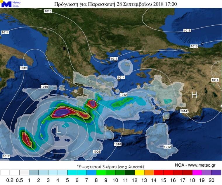 Πρόγνωση υετού και πίεσης/Πηγή: meteo.gr
