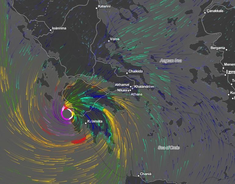 Στις 29 Σεπτεμβρίου (ώρα 9.00 το βράδυ) το φαινόμενο «μεταφέρεται» ανατολικά, προς την Πελοπόννησο