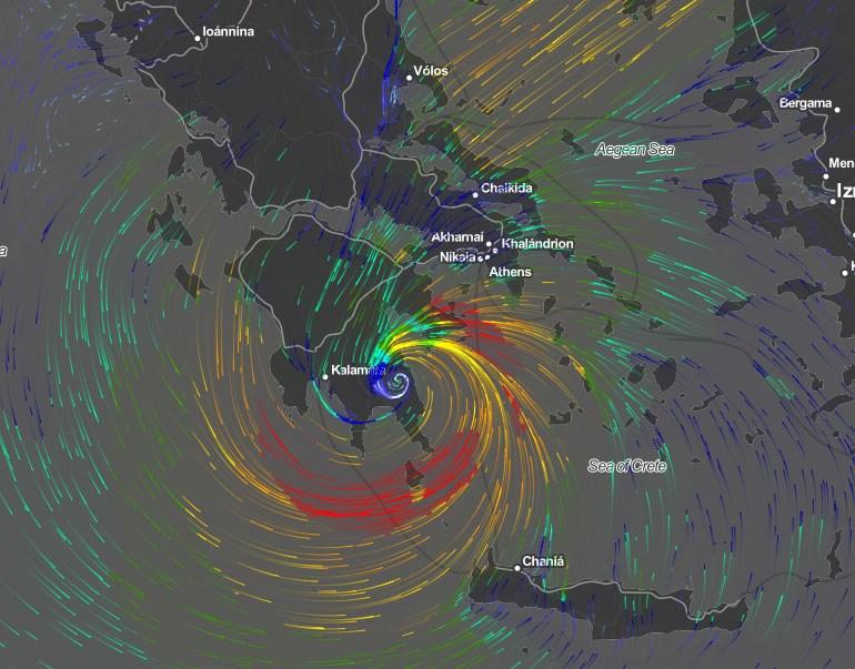 Στις 30 Σεπτεμβρίου (ώρα 12.00 το μεσημέρι) το φαινόμενο σχηματίζεται στην Πελοπόννησο