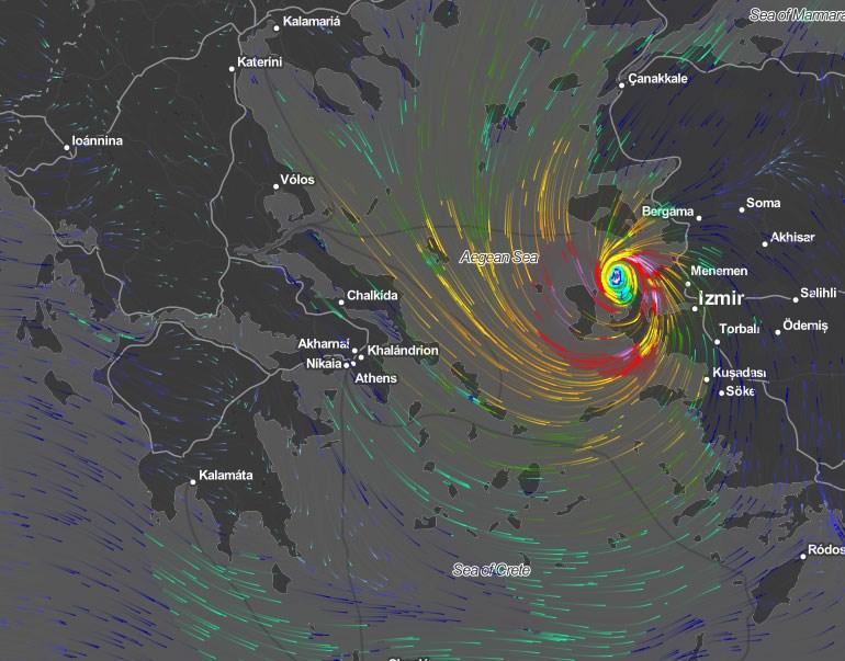 Την 1 Οκτωβρίου (ώρα 18.00) το φαινόμενο μεταφέρεται προς το ανατολικό Αιγαίο