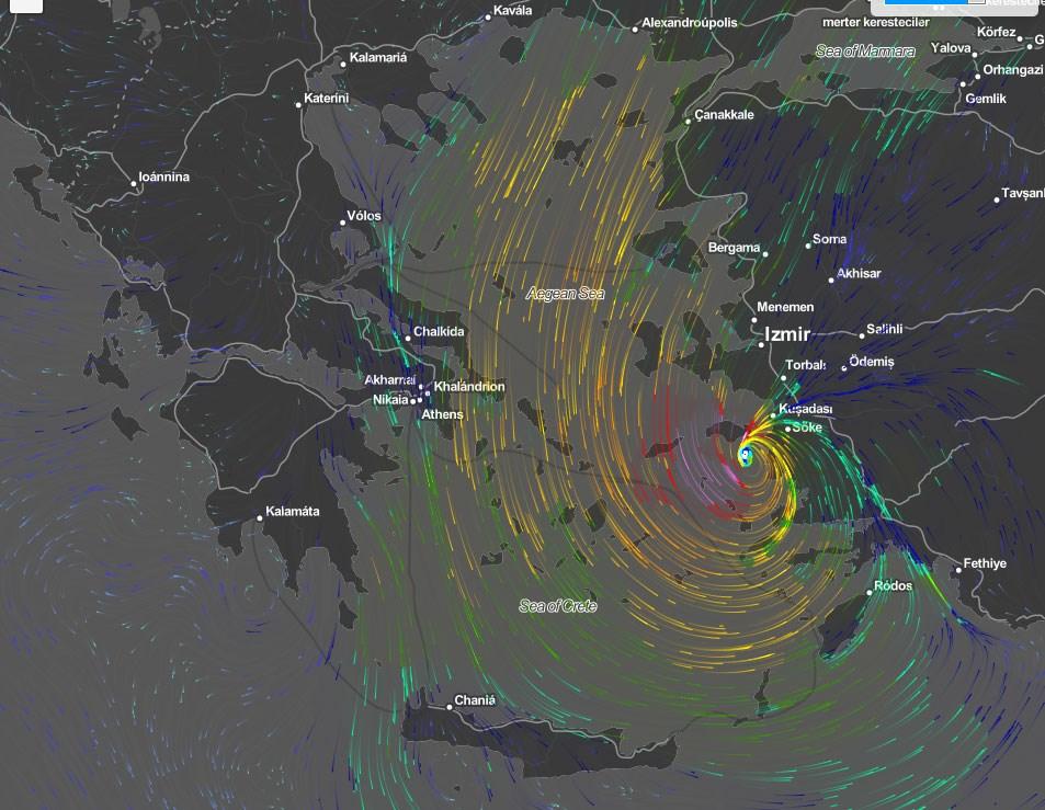 Η θέση του μεσογειακού κυκλώνα το μεσημέρι της Κυριακής