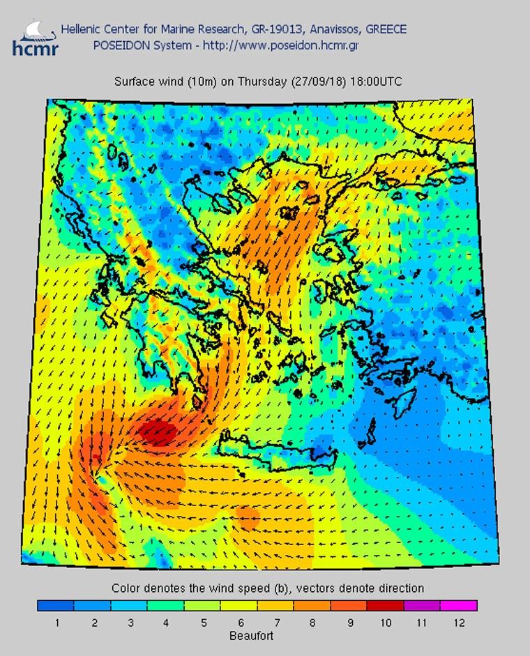 Το χρώμα δηλώνει την ένταση του ανέμου στην κλίμακα Μποφόρ (βράδυ Πέμπτης)