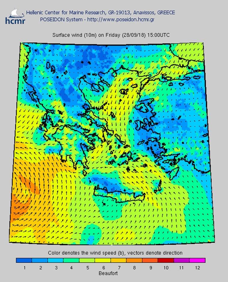 Το χρώμα δηλώνει την ένταση του ανέμου στην κλίμακα Μποφόρ (απόγευμα Παρασκευής)