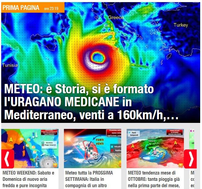 To πρωτοσέλιδο του ιταλικού μετεωρολογικού δικτύου Il Meteo αναφέρεται σε τυφώνα που σχηματίζεται στη Μεσόγειο