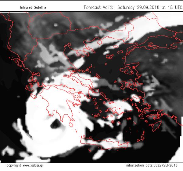 O τροπικός κυκλώνας όπως αποτυπώνεται από το προγνωστικό μοντέλο του Xalazi.gr