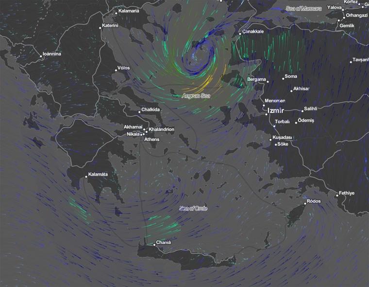 H θέση του κυκλώνα στις 12.00 σύμφωνα με το meteo.gr