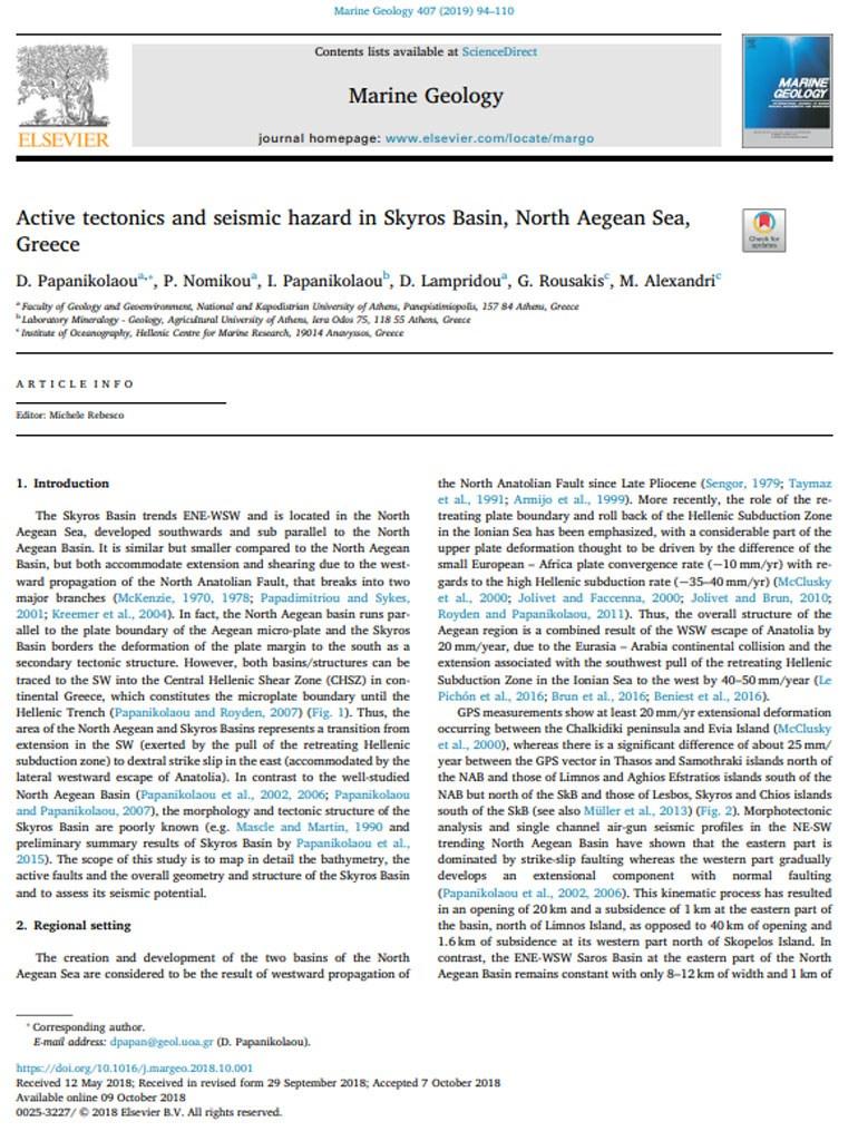 H έρευνα όπως δημοσιεύτηκε στο περιοδικό «Marine Geology»