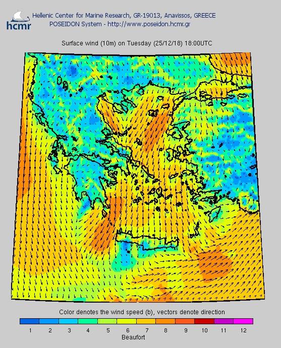 Το χρώμα δηλώνει την ένταση του ανέμου στην κλίμακα Μποφόρ (απόγευμα Τρίτης)