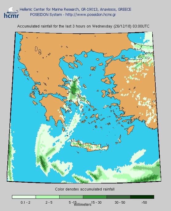 Το χρώμα δηλώνει το αθροιστικό ύψος της βροχόπτωσης (ξημερώματα Τετάρτης)