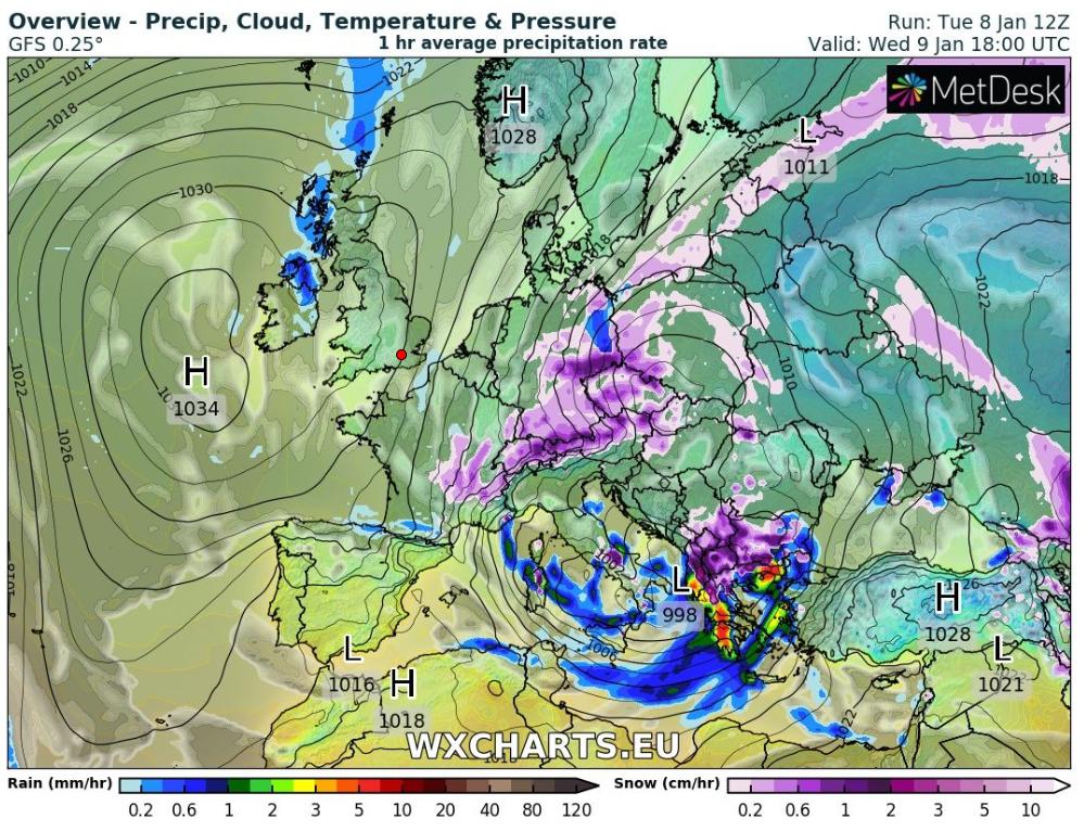 Mε μοβ χρώμα οι χιονοπτώσεις - Τα υπόλοιπα χρώματα δείχνουν τις βροχοπτώσεις ανάλογα με την ένταση