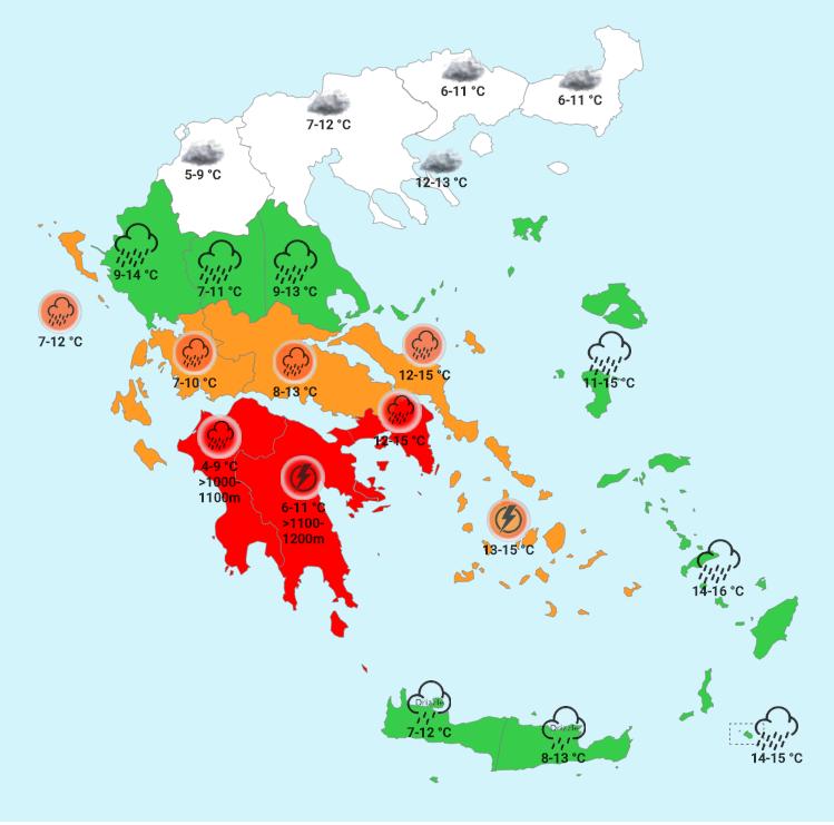 Xάρτης του Forecastweather για τα καιρικά φαινόμενα την Τρίτη το βράδυ