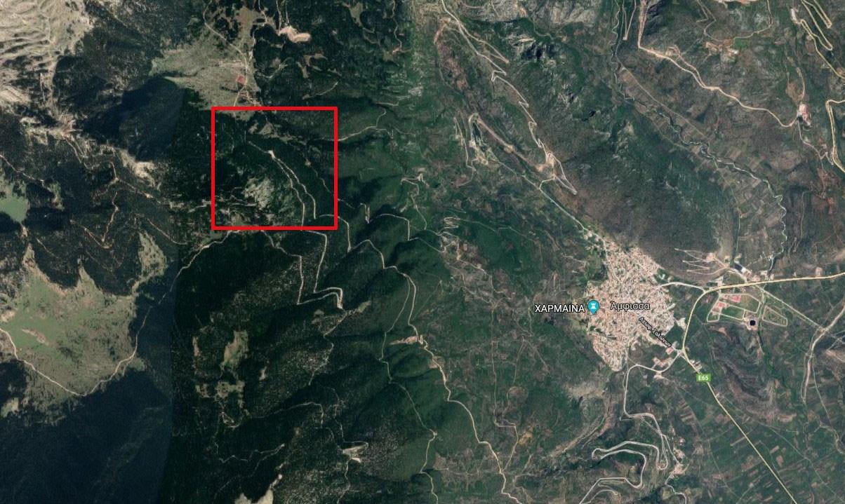 Mε κόκκινο χρώμα το σημείο των ερευνών - Περιοχή όπου σύμφωνα με πληροφορίες δραστηριοποιούνται χρυσοθήρες