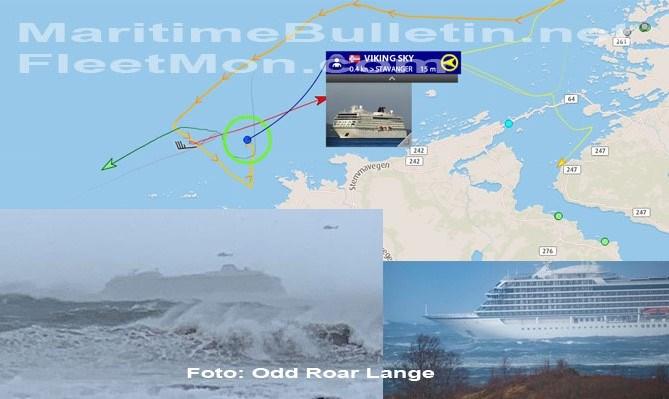 Το Viking Sky βρίσκεται ανοικτά της Hustadvika, μόλις 2,5 ναυτικά μίλια (4,6 χλμ.) από την ακτή
