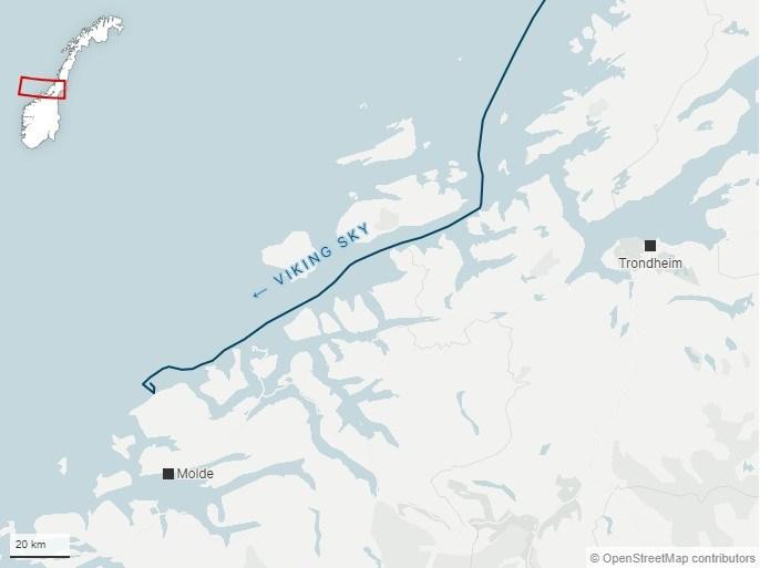 H πορεία που ακολουθούσε το κρουαζιερόπλοιο