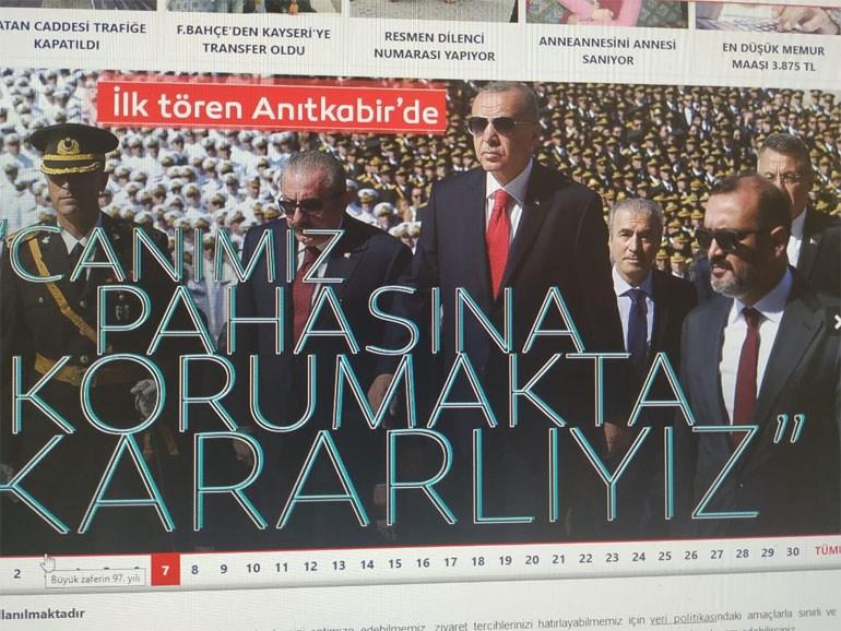 Το πρωτοσέλιδο της τουρκικής εφημερίδας Sabah