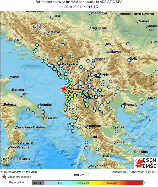 Όπως δείχνει ο χάρτης του Ευρωμεσογειακού Σεισμολογικού Κέντρου οι σεισμικές δονήσεις έγιναν αισθητές σε Ιωάννινα, Θεσσαλονίκη και Λάρισα. Επίσης, στα Σκόπια αλλά και τις γειτονικές περιοχές της Ιταλίας