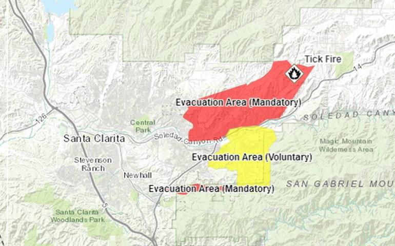 Χάρτης με τις περιοχές που έχουν εκκενωθεί