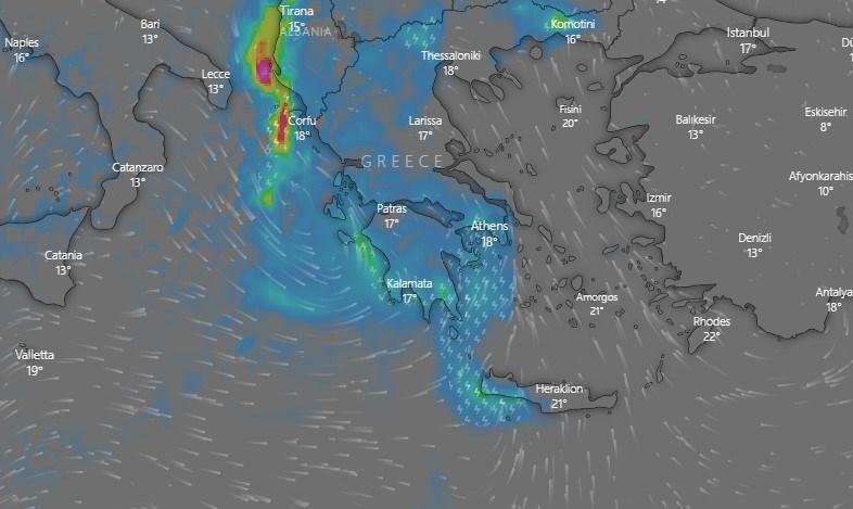 Oι καιρικές συνθήκες την Παρασκευή (βροχοπτώσεις)