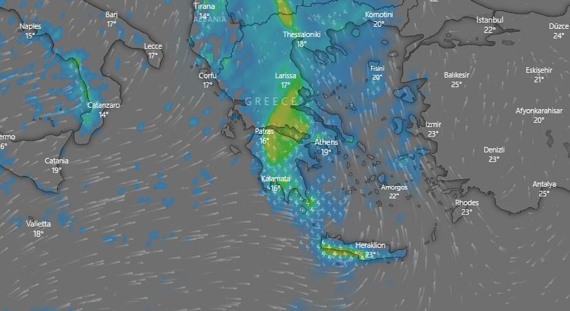 Οι καιρικές συνθήκες την Κυριακή (βροχοπτώσεις)