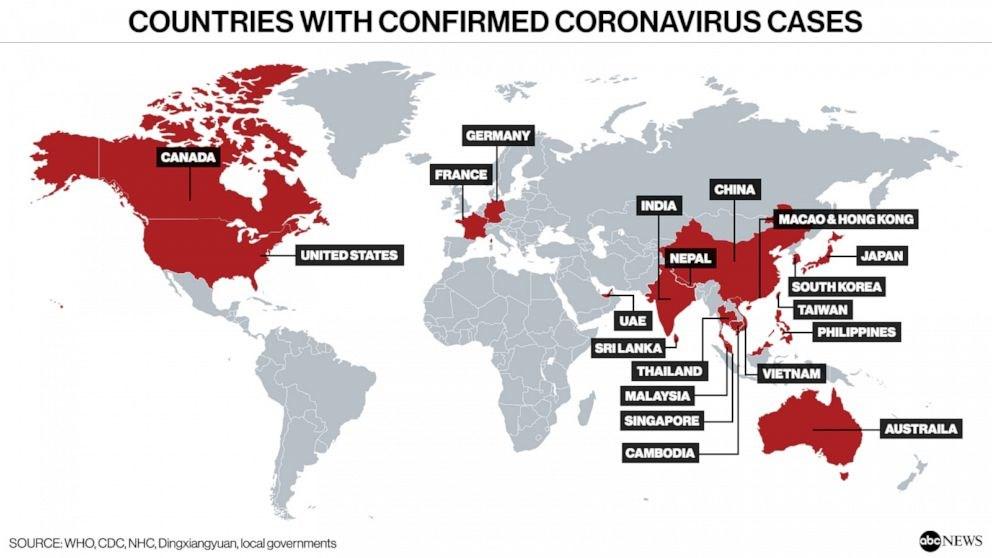 Οι χώρες με επιβεβαιωμένα κρούσματα