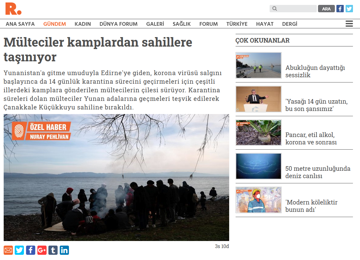 Το τουρκικό δημοσίευμα στην  ιστοσελίδα gazeteduvar